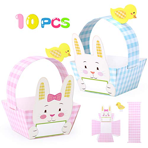 Konsait DIY Easter Card Craft Baskets Party Favors Gift for Kids to Decorate and Fill with Mini Eggs Candy Chicks Sweets or Gifts Pack of 10