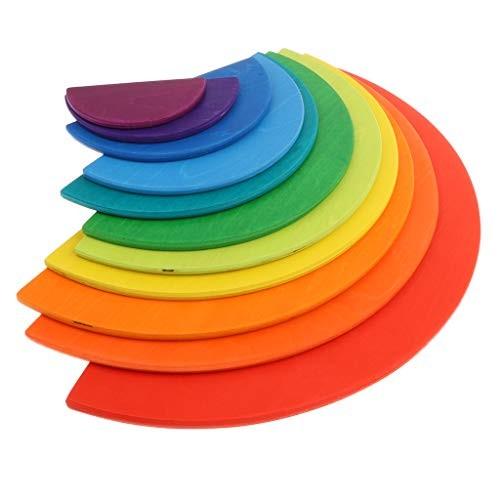SM SunniMix 11PCS Set Children Wooden Nesting Puzzle Semi-Circles Building Blocks Rainbow Stacker Educational Toy