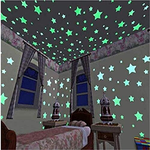 Tmrow 100pcs DIY Luminous Star Patch Fluorescent Sticker 3D Wall Stickers Home Decor for Bedroom Decorate Baby Kids GiftGreen