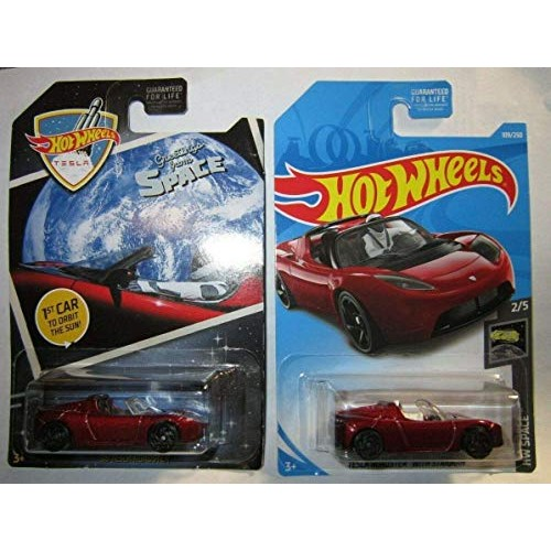 Hot Wheels 2019 Tesla Roadster with Starman and 2018 Greetings from Space RED!