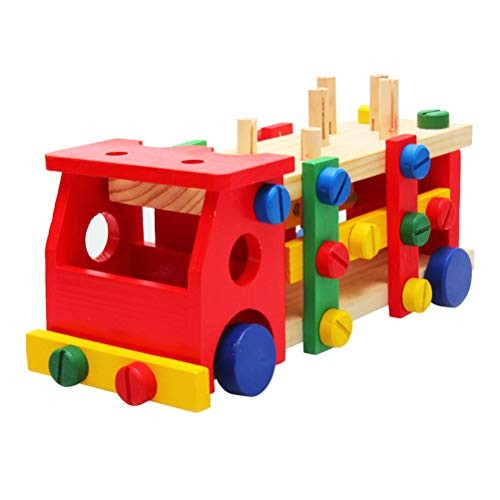 STOBOK Wooden Pounding Bench Toy Construction Vehicle Toys Wood Puzzles Building Blocks Birthday with Mallet for Kids Children
