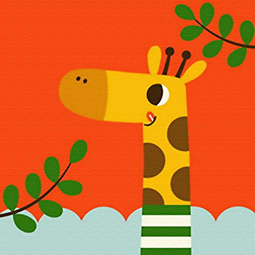 Komidea DIY Oil Painting Paint by Number Kits for Kids Beginner Lovely Giraffe 8x8inch