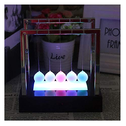 Wotryit Newtons Cradle LED Light Up Kinetic Energy Home Office Science Toys Decor