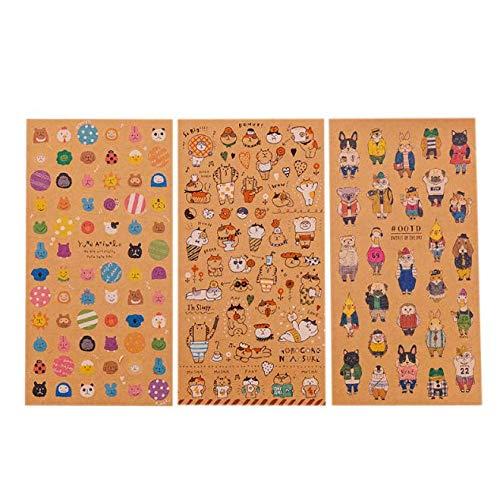 Amandaus 9Pcs Japanese Kraft Paper Cute Cat Sticker Diary Decorate PVC Transparent Scrapbooking Stationery Stickers Supplies