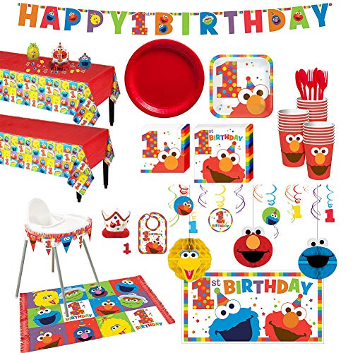 Party City 1st Birthday Elmo Deluxe Kit for 32 Guests Includes High Chair Decorating Candle and More