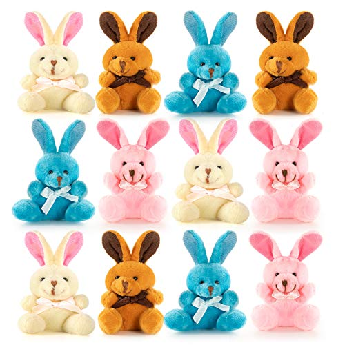 Easter Colored Soft Plush Bunnies Perfect Eggs Filler or Baskets – 12 Pack
