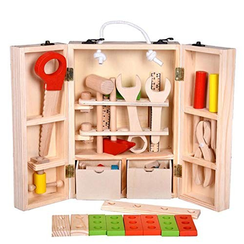 Techecho Magnetic Building Blocks Wooden DIY Portable Simulation Toolbox Set Combination Repair Kit Children Disassembly Educational Toys for Boys and Girls