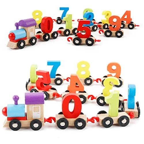 Faironly Wooden Assemble Building Blocks Digital Train Math Early Learning Toy for Kids Infant