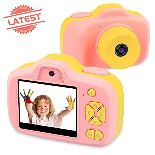 Joytrip Kids Video Camera for Girls Gifts HD 23 Inches Screen 12MP Digital Cameras Shockproof Children Selfie Toy Anti-Fall Mini Child Camcorder Age 3-14 Pink