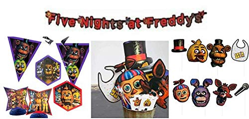 Five Nights At Freddy's Party KIt- 2 banners Photo Booth Props Centerpiece and Hanging Cutouts