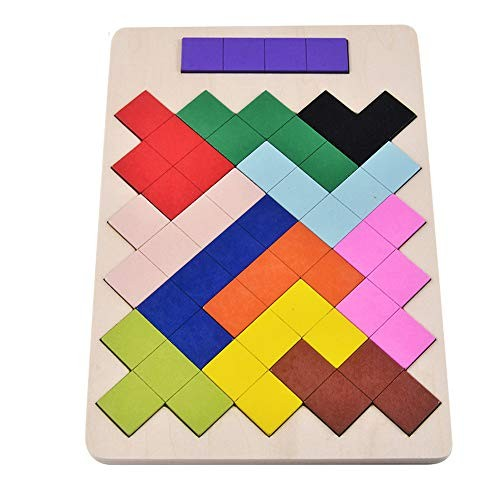Techecho Magnetic Building Blocks Children Wooden Tetris Puzzle Toy for Kids Early Education Colorful Boys and Girls