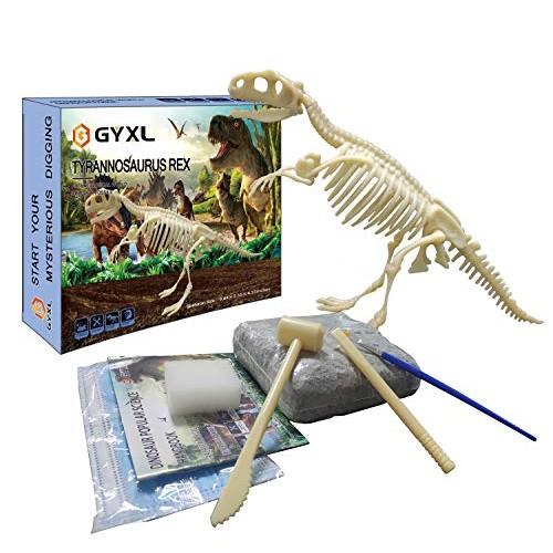 GYxL Dinosaur Fossil dig Toys DIY Dino Kit Kids Science Education Assembly Best Boys and Girls STEM Gift T-rex