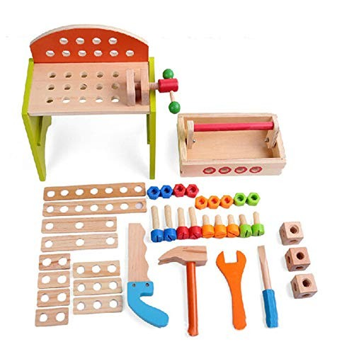 Magnetic Building Blocks Children's DIY Carpenter Toy Multicolored Wooden Tools and Portable Multi Tool Table for Boys Girls