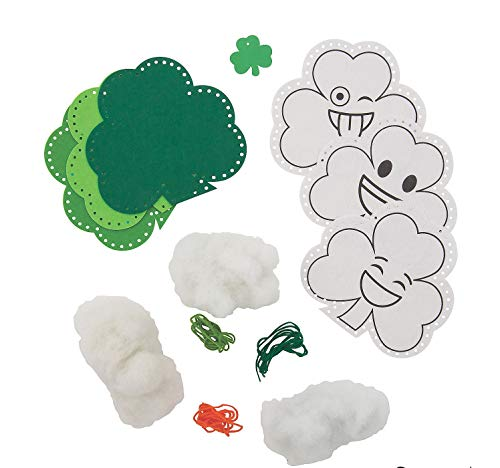 St Patrick's Day Plush Shamrock Lacing Canvas Craft Kits – 6 Set of Three 3 Color-Your-Own Goofy Activities for Classroom Kid's Supplies Sunday School Homeschooling