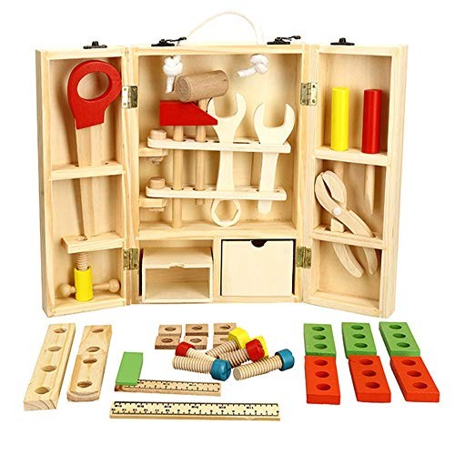 Techecho Magnetic Building Blocks Childrens DIY Carpenters Toy & Learning Playset 36 Piece Set Multicoloured Wooden Tools and Carry Case for Boys Girls
