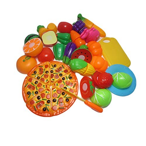Techecho Magnetic Building Blocks Children's Food Cutting Fruit Vegetable Pizza Collection Plastic Toy Kitchen Accessories for Boys and Girls