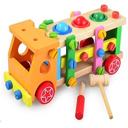Techecho Magnetic Building Blocks Children's Educational Early Education Wooden Disassembly Nuts Toys Knocking Cart for Boys and Girls