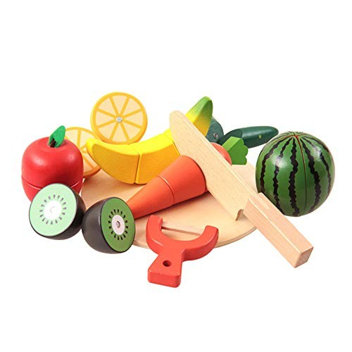 Techecho Magnetic Building Blocks Children's Food Set Wooden Cutting Than Fruit and Vegetable Pretend Toy Including Carrying Bag for Boys Girls