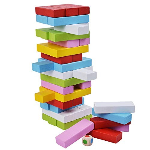 Techecho Magnetic Building Blocks Wooden Stacked Toys Children's Game – 51 Pieces for Boys and Girls Color 48PCS