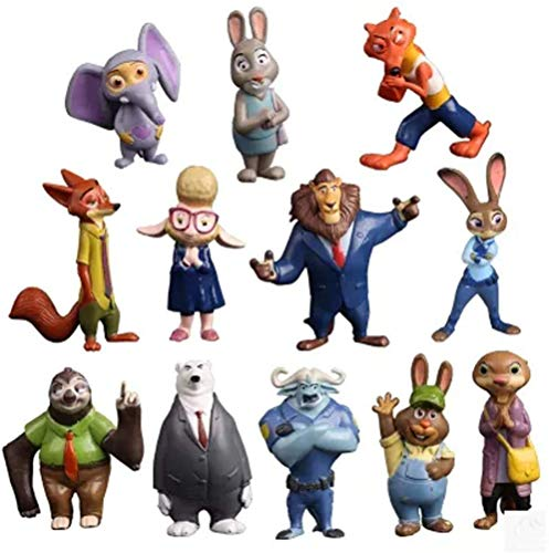 ATII Zootopia Deluxe Figure Set of 12 Toy Kit with Figures Cake Topper Decoration to Decorate Car House or Desk