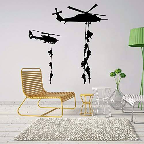 lxtmgzgf 2019 Army Soldier Helicopter Wall Sticker for Children Boys Bedroom Decorate Mural