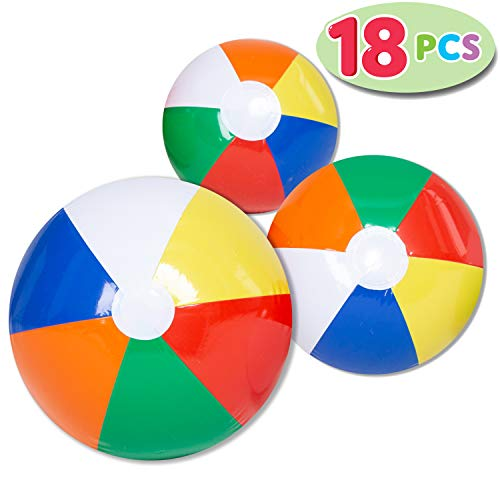 JOYIN Rainbow Beach Balls 18 Pack Combo Set Include 18 Inflatable in 20 6 16 and 12
