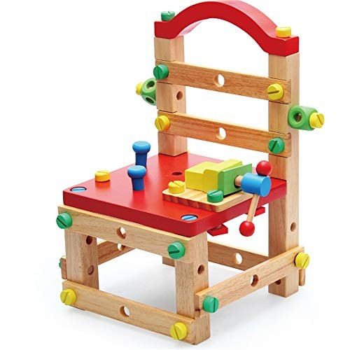 Magnetic Building Blocks Children's Educational Early Education Wooden Disassembly Work Chair Children Creative Multi-function DIY Hands-on Combination Toys for Boys and Girls