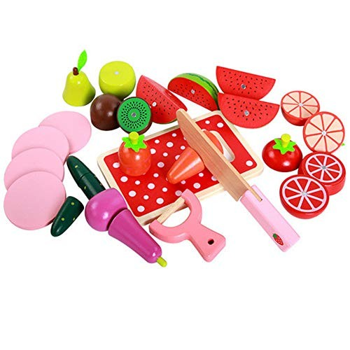 Techecho Magnetic Building Blocks Children's Food Cutting Fruit & Vegetable Collection Wooden Toy Kitchen Accessories for Boys and Girls