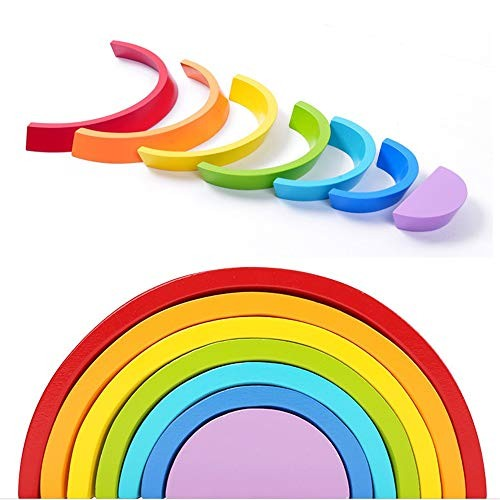 Techecho Magnetic Building Blocks Children's Educational Early Childhood Toys Wooden Multicolored Arched Rainbow Accumulation for Boys and Girls