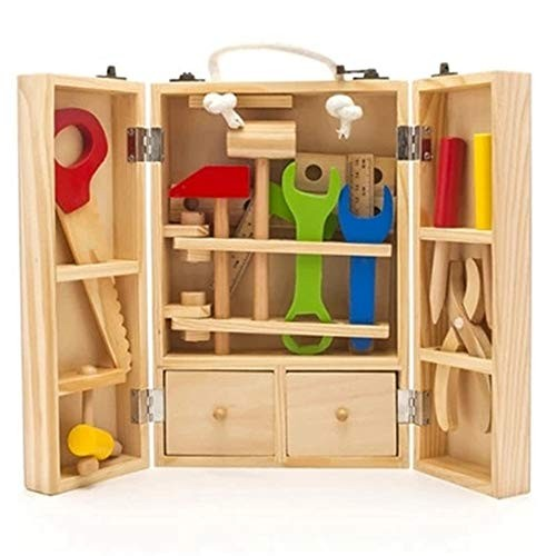Techecho Magnetic Building Blocks DIY Carpenter Toy and Children's Simulated Repair Wooden Tools Carrying Case for Boys Girls