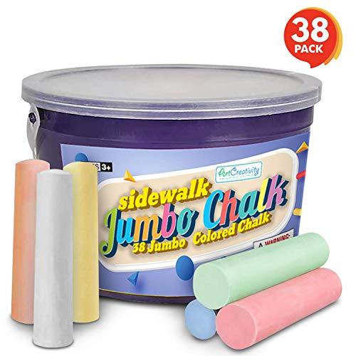 Jumbo Outdoor Sidewalk Chalk Bulk Multi-Colored Washable Street Chalks Outside Driveway Dust Free Chalk for Kids Art Painting 20PCS