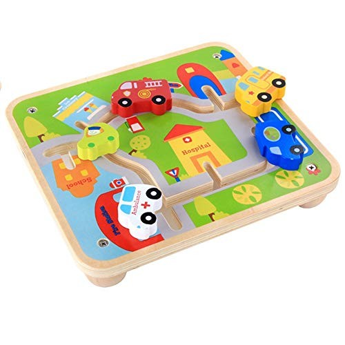 Techecho Magnetic Building Blocks Children's Educational Early Education Wooden City Track Cartoon Three-Dimensional Vehicle Car Find Game Toys for Boys and Girls
