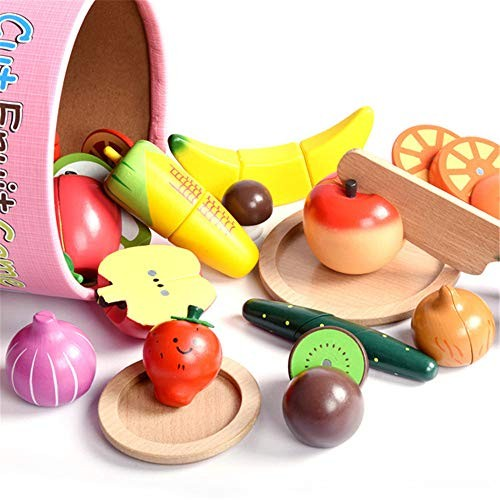 Techecho Magnetic Building Blocks Children's Toy Food Cutting Fruit Set Pretend Role Playing Wooden Kitchen Accessories for Boys and Girls