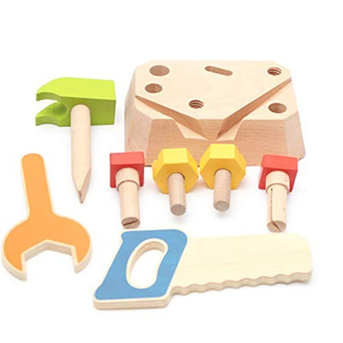 Techecho Magnetic Building Blocks Children's DIY Wooden Repair Carpenter Tools Construction Toys Multicolor and Carrying Cases for Boys Girls