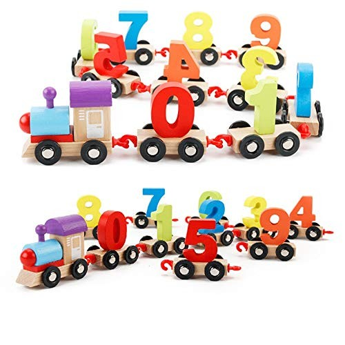 Techecho Magnetic Building Blocks Children's Digital Train Puzzle Assembling Color Wooden Stitching Small Educational Toys for Boys and Girls