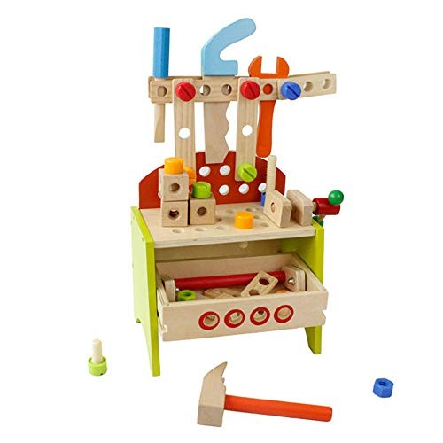 Techecho Magnetic Building Blocks Children's DIY Carpenter Toy and Learning Playset Multicolored Wooden Tools Portable Tool Chairs for Boys Girls
