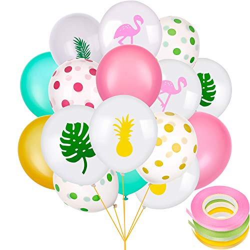 Chuangdi 50 Pieces Hawaii Party Balloon Latex Includes Flamingo Tropical Leaf Pineapple Polka Dot Balloons with 3 Rolls of Ribbons for Holiday Decorations