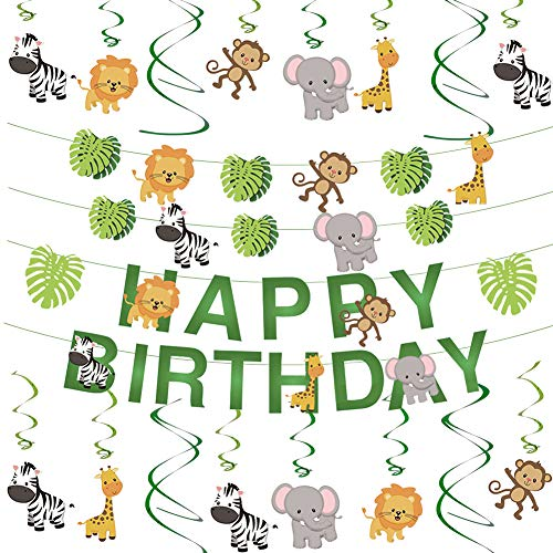 Cieovo Jungle Animals Party Hanging Swirl and Leaves Happy Birthday Banner Decoration Set Green Safari Forest Animal Theme Supplies for Baby Shower Kid's