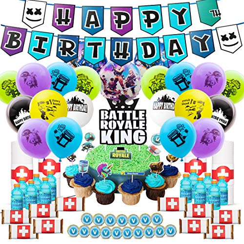 DMight Birthday Party Supplies for Game FansVideo Decoration121 Pcs Favors – Cake Topper Bottle Label Chocolate Sticker Latex Balloon Foil Roll Paper Banner