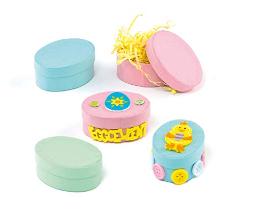 Pastel Oval Strong Board Craft Boxes 64mm x 45mm 3 Colours for Children to Paint & Decorate Pack of 6