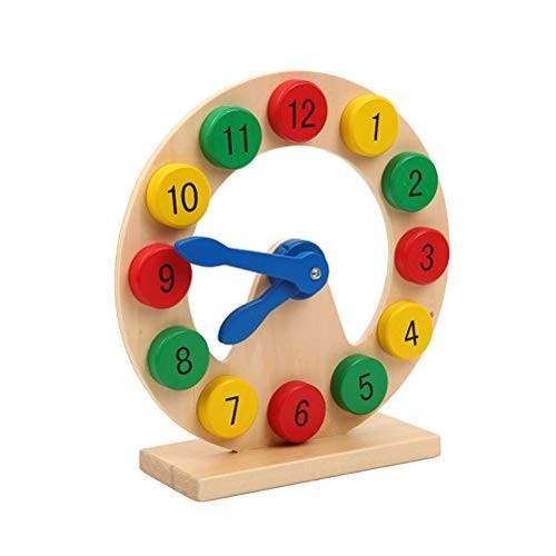 STOBOK Numbers Matching Clock Colorful Pattern Shape Cognition Wooden Building Blocks Assembly Educational Toys for Kids