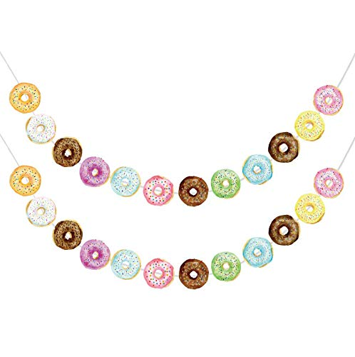 Donut Food Theme Party Banner Garland – 2 Pack Doughnut Birthday Supplies Time Decorations for Grown Up Cake Favor Displays