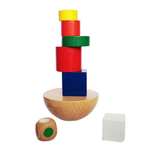 STOBOK Wooden Stackable Balance Toy Hemisphere Building Blocks Playset Toys for Kids Children Mixed Color