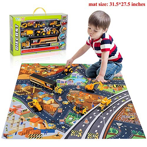 TEMI Diecast Engineering Construction Vehicle Toy Set w Play Mat Truck Carrier Forklift Bulldozer Road Roller Excavator Dump Tractor Alloy Metal Car for Kids Boys & Girls