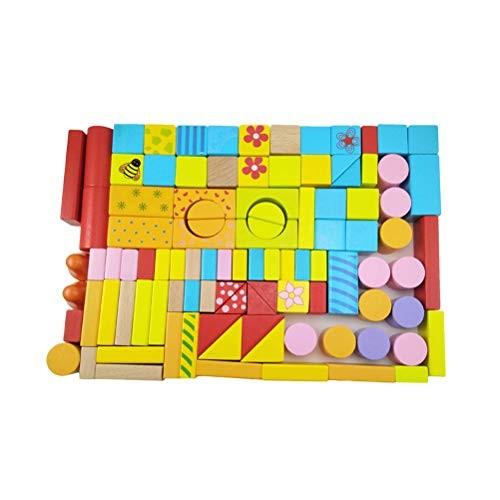 STOBOK Kids Wooden Building Block Set Stacking Educational Toys 100PCS