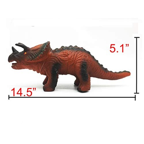 Toys Kingdom nontoxic Soft Dinosaur 13 to 16 Large PVC with Realistic Voice for Kids Educational Toy Dinosaurs Party Favors Triceratops