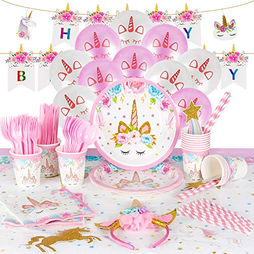 Pink Gold Unicorn Sparkle Birthday Party Tableware Decor Plate Cup Kid Gir Nice