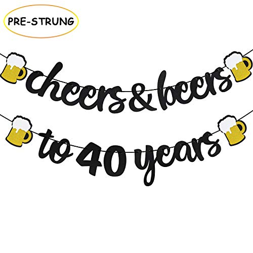 Joymee Cheers & Beers to 40 Years Black Glitter Banner for 40th Birthday Wedding Anniversary Party Supplies Decorations – PRESTRUNG