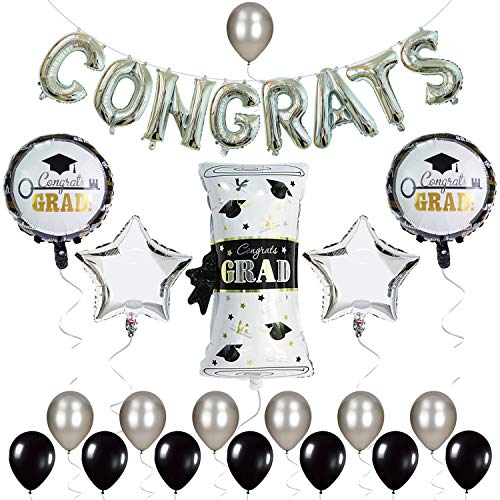 Graduation Balloons Black White and Silver – 2020 for Grad Party Congrats Letter Mylar Supplies Decorations
