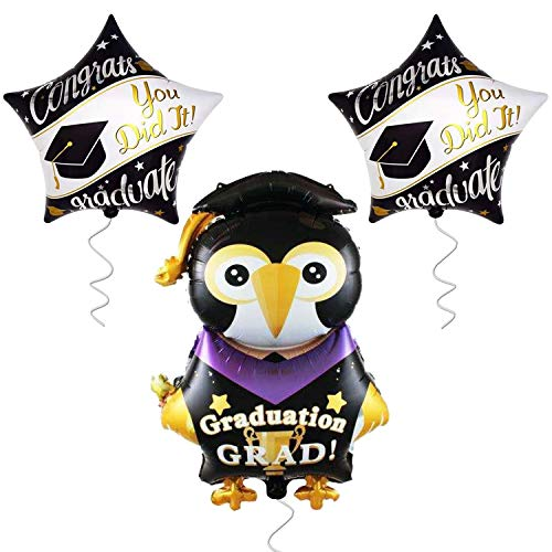 Large Penguin Graduation Balloons for Grad Party- 2 Star Ballons Congrats You Did it Balloon Party Supplies High School Kindergarten Ddecorations